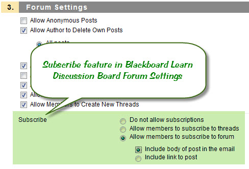 Subscribe Feature Settings in Blackboard Learn 9.1